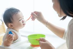 Mother feeding baby. Stock Photos