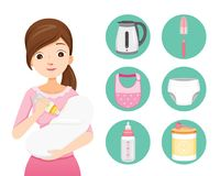 Mother Feeding Baby With Milk In Baby Bottle. Baby Icons Set. Mother's day Suckling Infant Motherhood Innocence Stock Image