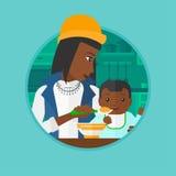 Mother feeding baby vector illustration. Stock Photos