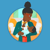 Mother feeding baby vector illustration. Stock Photography