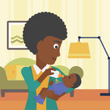 Mother feeding baby vector illustration. Royalty Free Stock Images