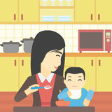 Mother feeding baby vector illustration. Royalty Free Stock Photo
