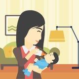 Mother feeding baby vector illustration. Royalty Free Stock Photos
