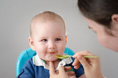 Meal Time. Mother feeding beautiful baby boy. Royalty Free Stock Images