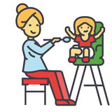 Mother feeding child in highchair, child feeding concept. Stock Photography