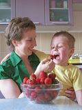 Mother feeding child strawberries Stock Photography