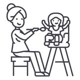 Mother feeding child vector line icon, sign, illustration on background, editable strokes Royalty Free Stock Photo