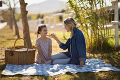 Mother feeding food to her daughter on picnic Royalty Free Stock Photos