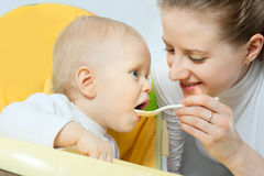 Mother Feeding Her Baby Royalty Free Stock Image