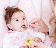 Mother feeding her baby apple puree Stock Photo