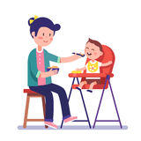 Mother feeding her baby child. Sitting on kids eating chair. Holding hands with spoon going to mouth. Modern flat style vector illustration cartoon clipart Royalty Free Stock Images