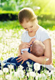 Mother feeding her baby in nature green meadow with white flower Stock Photos