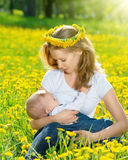 Mother  feeding her baby in nature green meadow with yellow flow Stock Photography