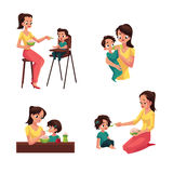 Mother feeding her baby, son, daughter, sitting and standing Royalty Free Stock Images