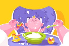 Mother feeding little baby flat poster vector illustration