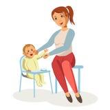 Mother feeding newborn baby child nursing vector flat design Stock Photography