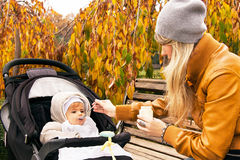 Mother is feeding nine month baby boy from a spoon. Mother is feeding nine month baby boy from a spoon in the autumn park. Happy child has healthy food outdoor Royalty Free Stock Images