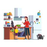 Mother feeding son at home kitchen stock illustration