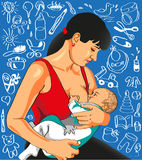 Mother feeds baby. Picture of a mother who feeds her newborn baby. Background with the image of children's items Royalty Free Stock Image