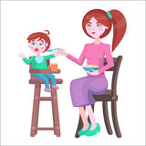 Mother Feeds Baby, Who Sits and Cries on Highchair Royalty Free Stock Photo