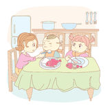 Mother feeds the children. Mum feeds the children,Vector, color full, no gradient Royalty Free Stock Photo