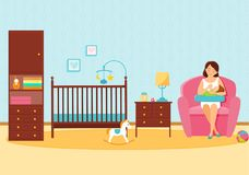 Mother feeds her baby in baby room royalty free illustration
