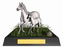 Mother and Foal. On a display stand with blank plate ready for inscription.  Three dimensional models, computer generated image Stock Photos
