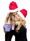 Mother giives present to daughter royalty free stock photography
