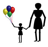Mother and girl with balloons Royalty Free Stock Photo