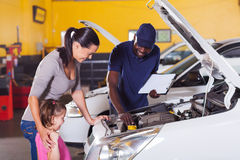Mother girl car service Royalty Free Stock Image