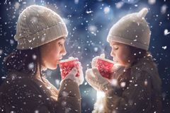 Mother and girl drinking tea. Happy loving family! Mother and child girl drinking tea on snowy winter walk in nature. Frost winter season Royalty Free Stock Photo