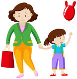 Mother and girl holding hands Stock Images
