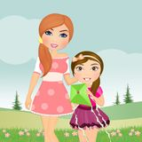 Mother and girl with kite. Illustration of mother and girl with kite Royalty Free Stock Images