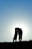 Mother and girl silhouette Royalty Free Stock Photo