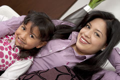 Mother and girl smiling Stock Images
