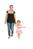 Mother with girl walking Stock Images