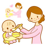 Mother give a baby food. Marriage and Parenting Character Design Stock Photos