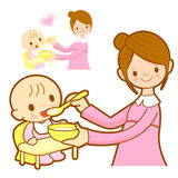 Mother give a baby food. Marriage and Parenting Character Design Royalty Free Stock Photography