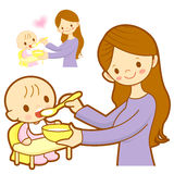 Mother give a baby food. Marriage and Parenting Character Design Stock Images