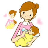 Mother give a baby milk a bottle. Marriage and Parenting Charact Stock Image