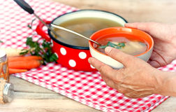 Mother Gives Soup Royalty Free Stock Images