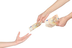 Mother gives to child kid pocket money for school Stock Photography