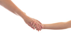 Mother giving a hand to a child Royalty Free Stock Image