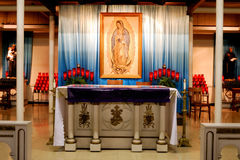 Mother of God Altar. Altar detail from basement chapel National Shrine of Our Lady of Consolation in Carey, OH Stock Photo