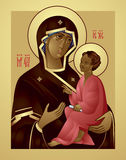 Mother of God and Jesus Christ Icon. The Icon a Mother of God and Jesus Christ, Virgin Mary holding the Child Jesus Eastern Orthodox Icon in vector, Theotokos Royalty Free Stock Photos