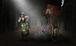 Mother Goose, Fable, Fairy Tale, Children Story. Mother Goose and the old woman who lived in a shoe. Fun children story or fairy tale fable imagination. The royalty free illustration