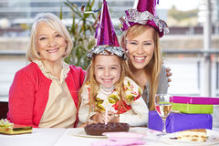 Mother and grandma at birthday Stock Image