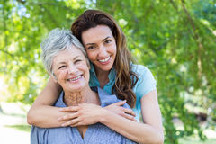 mother and grandmother smilling Stock Photos