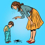 Mother and guilty son. broken phone royalty free stock photo