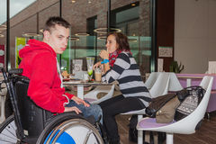 Mother with handicapped son Royalty Free Stock Photo